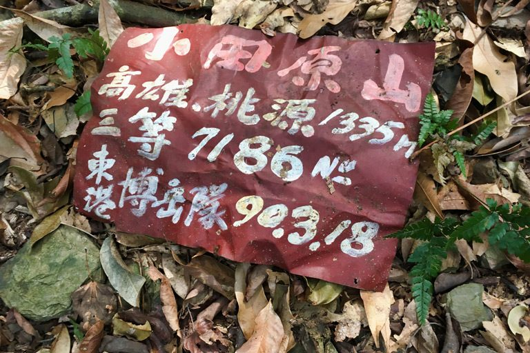 Red sign laying on leaves