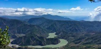 Panoramic mountain view of southern Taiwan - Watermelon river below