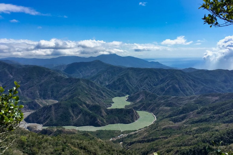 Panoramic mountain view of southern Taiwan - Watermelon river below
