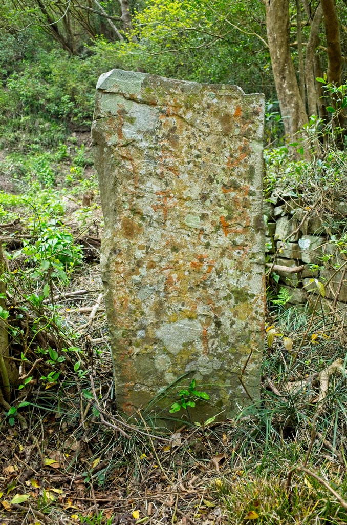 Tall, thin stone standing upright with what appears to be faded Japanese writing on it