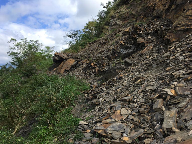 Rockslide on side of mountain