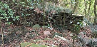 Old stone foundation wall