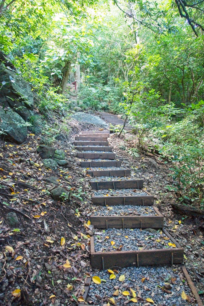 Wooden plank stairs and gravel going up the mountain