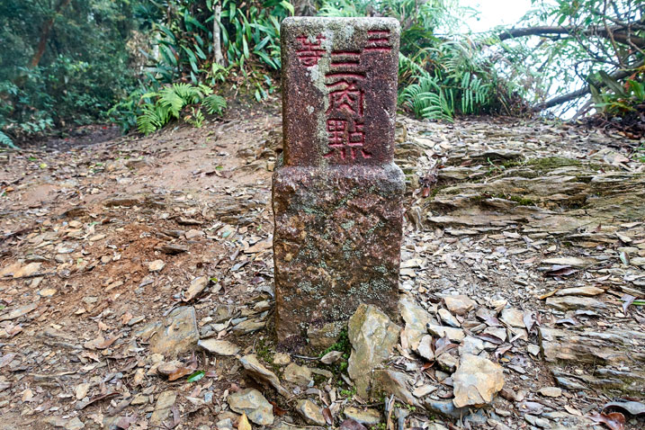 日湯真山 RiTangZhenShan triangulation stone from behind
