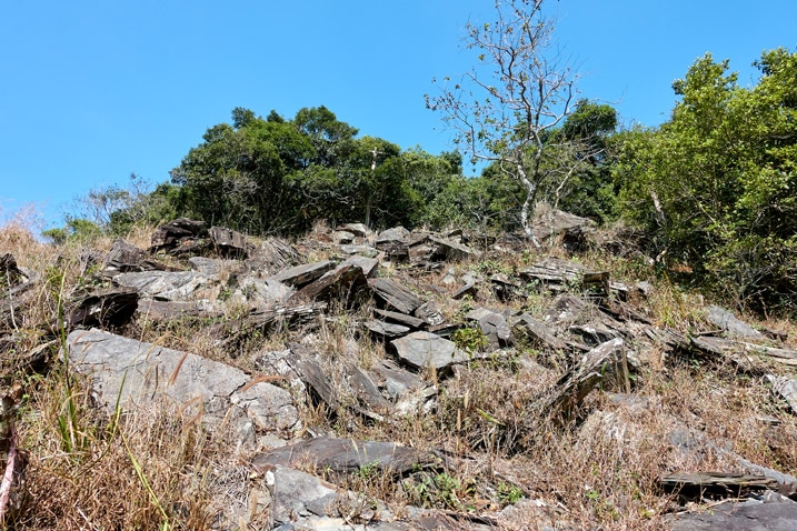 Looking up mountain - loose rocks and trees at top - ZuMuShan 足母山 trail