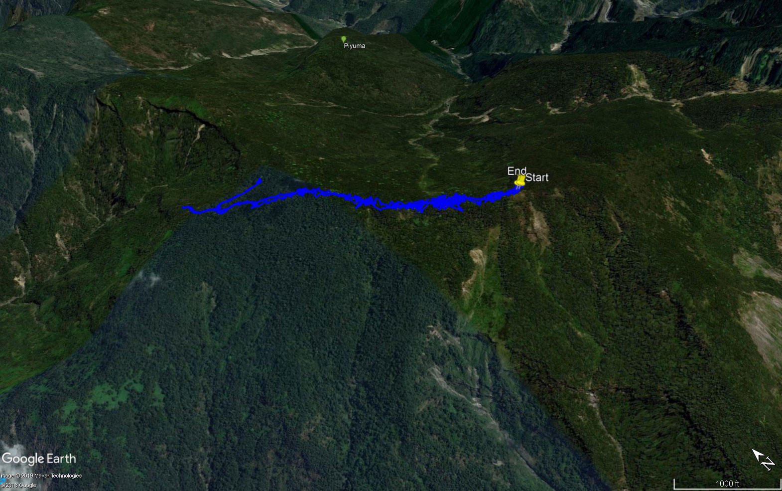 Google Earth Map of Hike