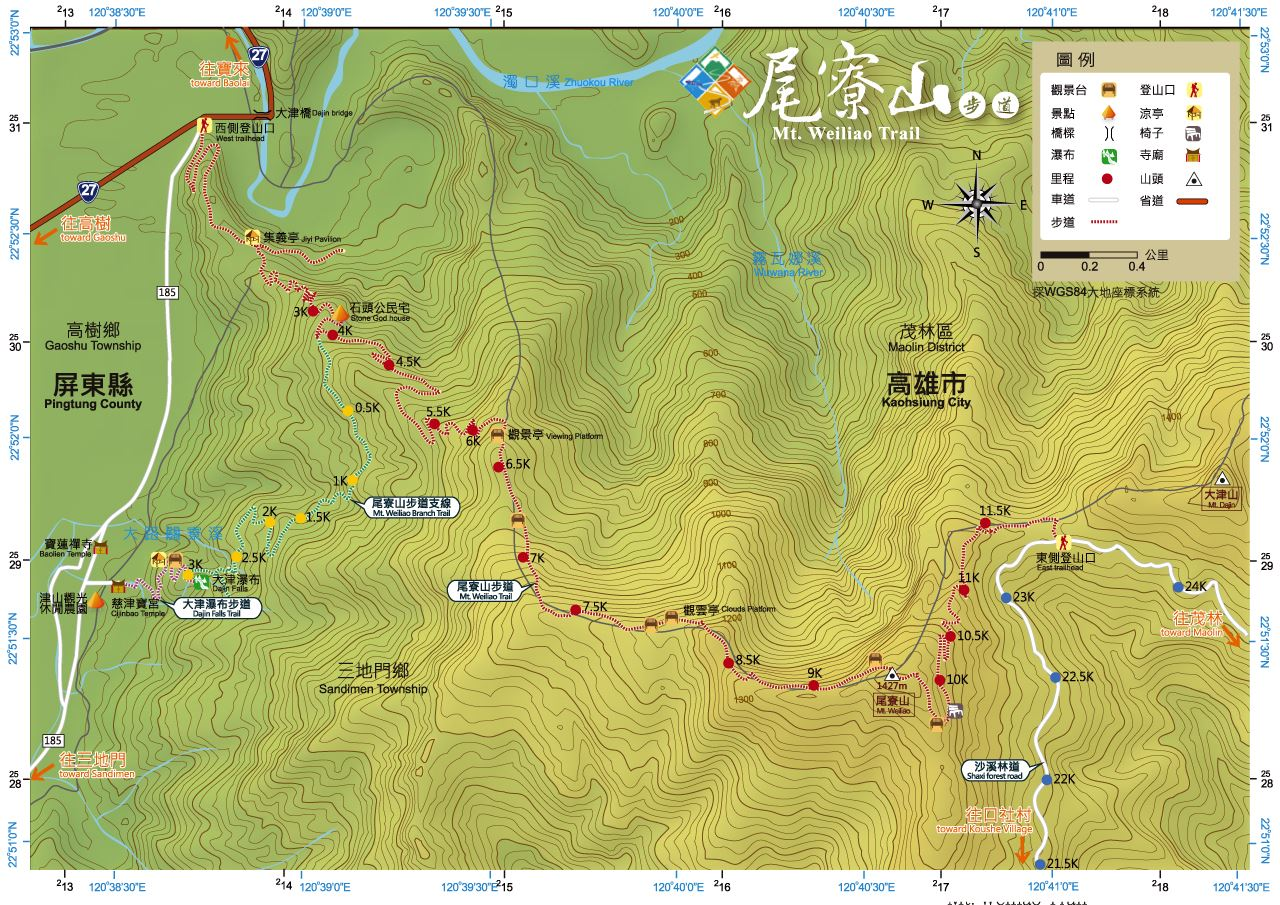 Map of the Weiliaoshan 尾寮山 trail