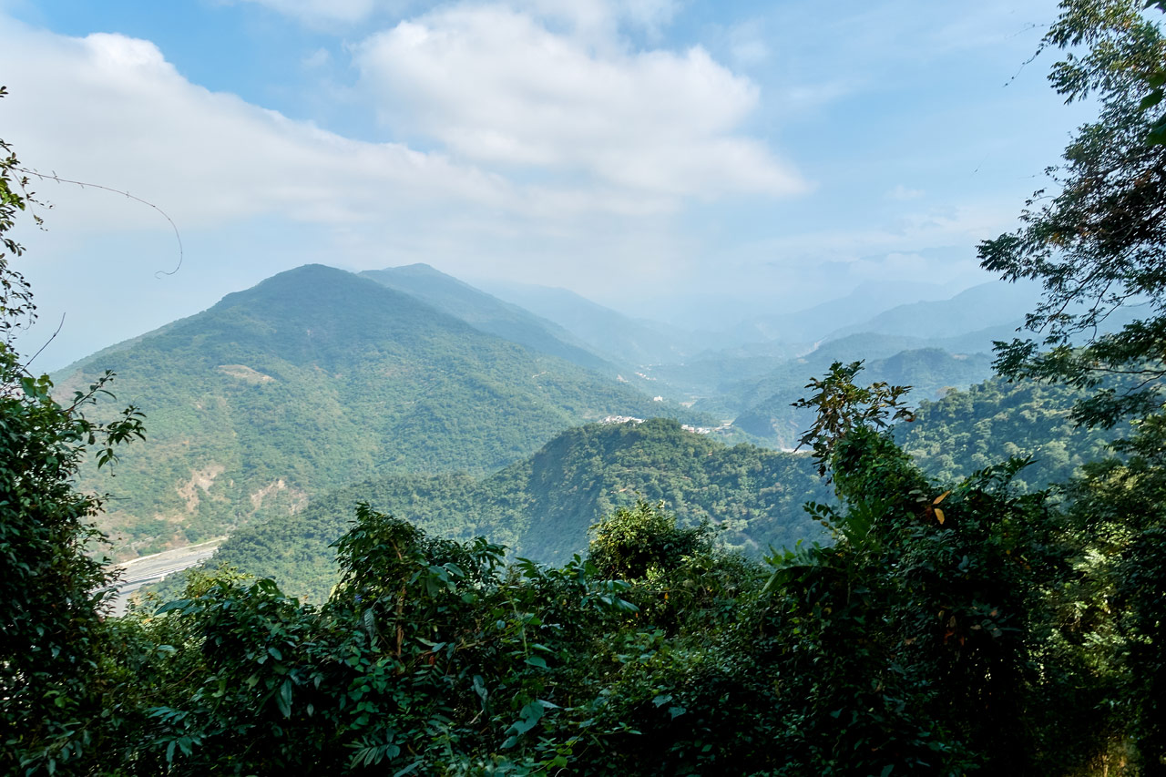 Panoramic view of mountians and river and Maolin village - WeiLiaoShan Hike – 尾寮山
