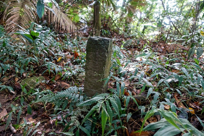 Closeup of concrete marker sticking out of the ground - WeiLiaoShan Hike – 尾寮山