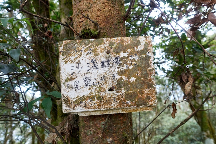 Dirty sign with difficult to read Chinese attached to a tree - WeiLiaoShan 尾寮山