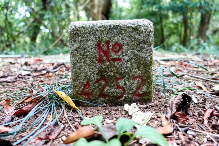 Closeup of triangulation stone - BeiHuLuShan Peak 北湖呂山