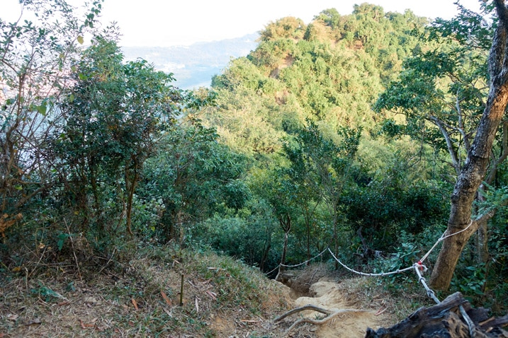 Steep descent down mountain with rope - 旗月縱走