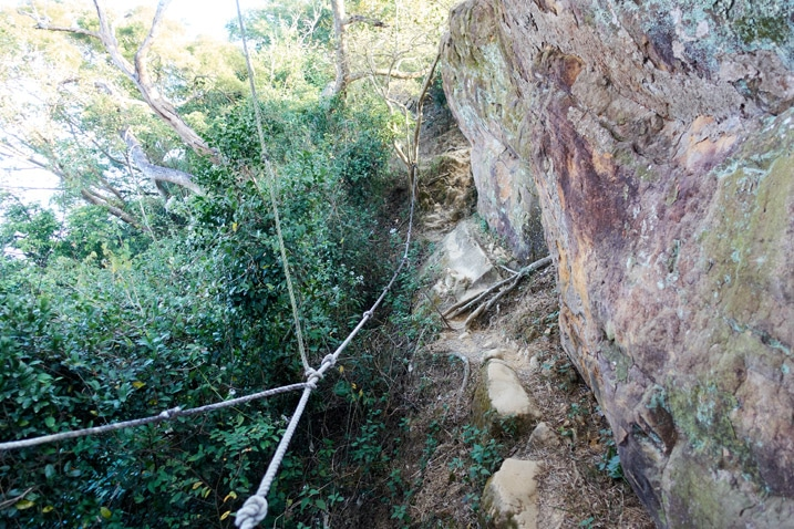 Trail next to rock face with ropes - 旗月縱走