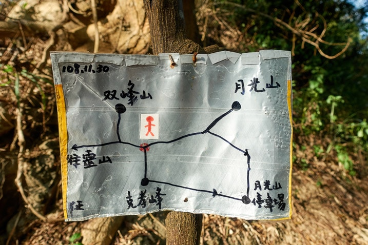 Closeup of hand drawn trail map - 旗月縱走