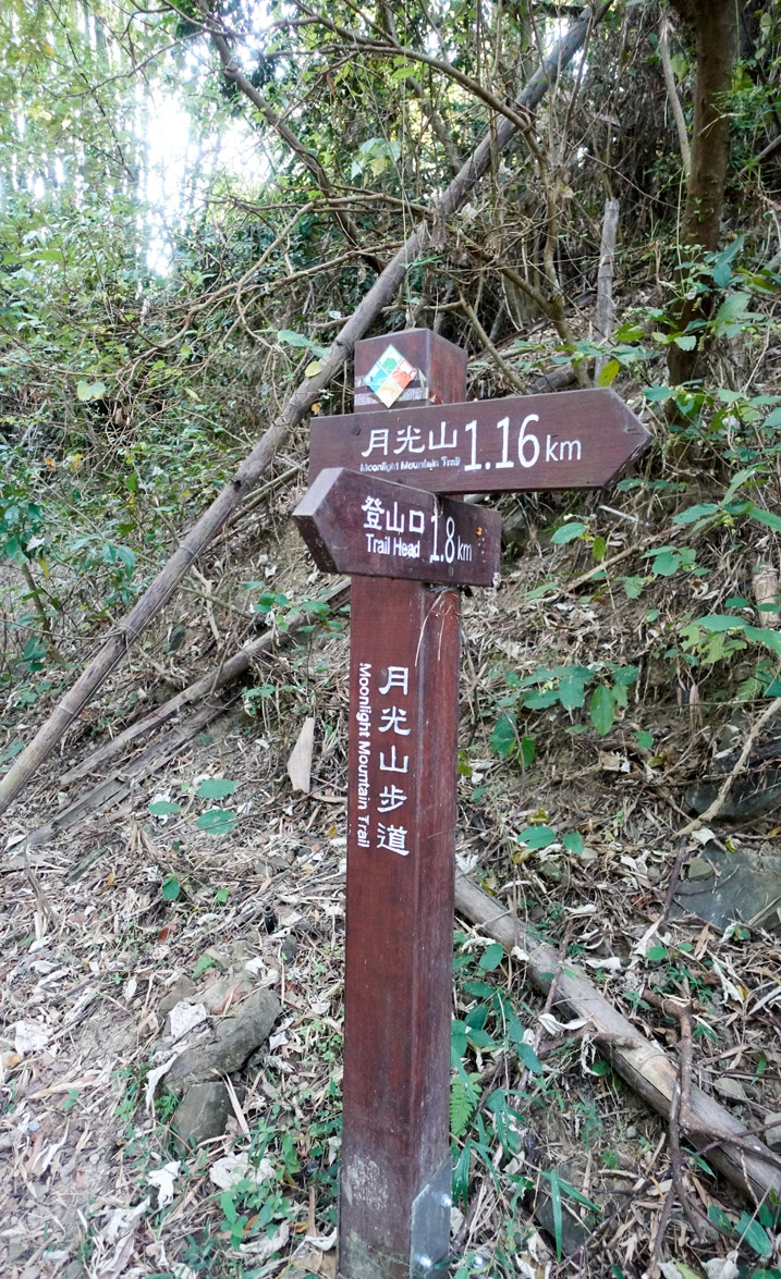 Sign post with two signs in Chinese - 旗月縱走