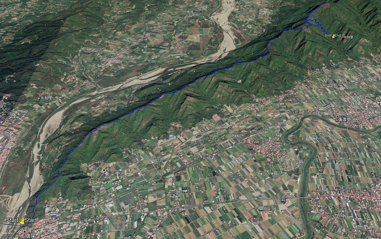 Google Earth map of 旗月縱走 trail