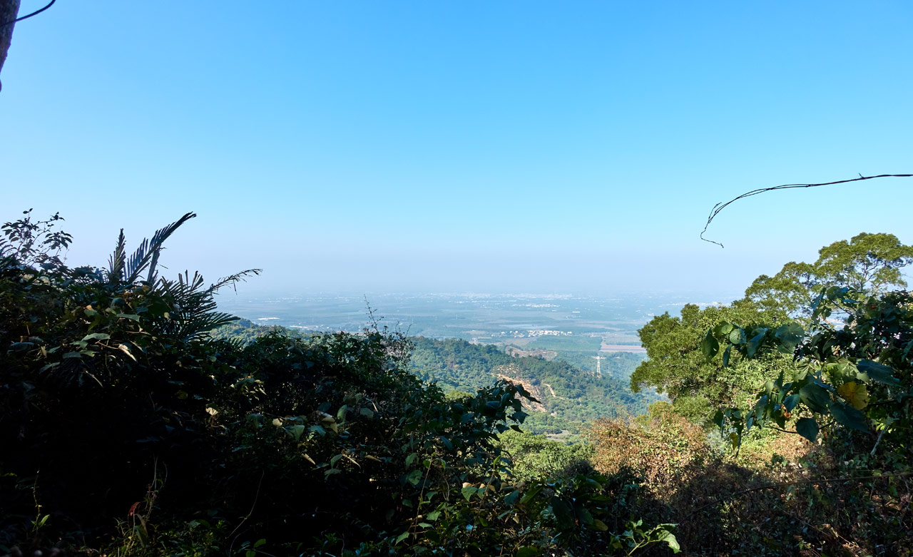 Looking down at farmland from top of mountain - blue skies - XinZhiShan - 新置山