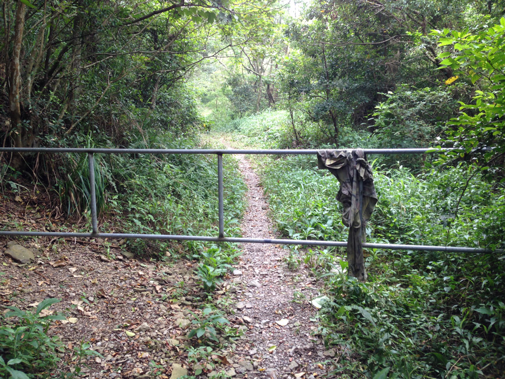 Simple metal gate blocking trail access