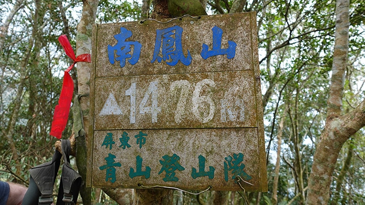 Old sign attached to tree - chinese writing on sign