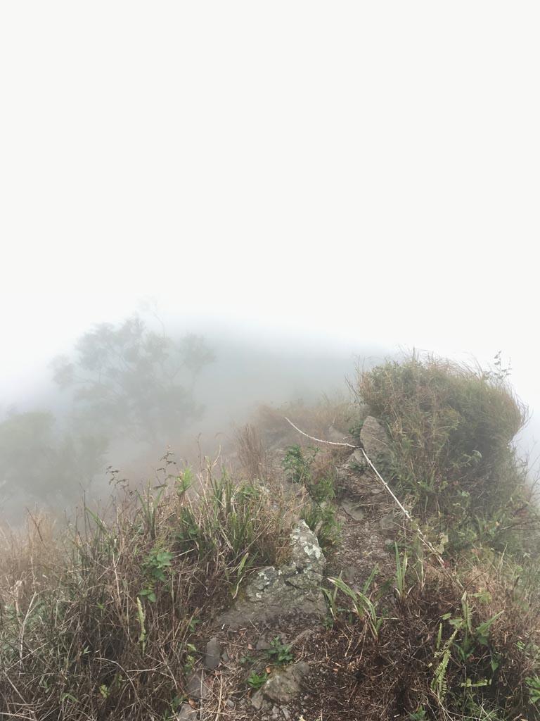 Foggy ridge with rope