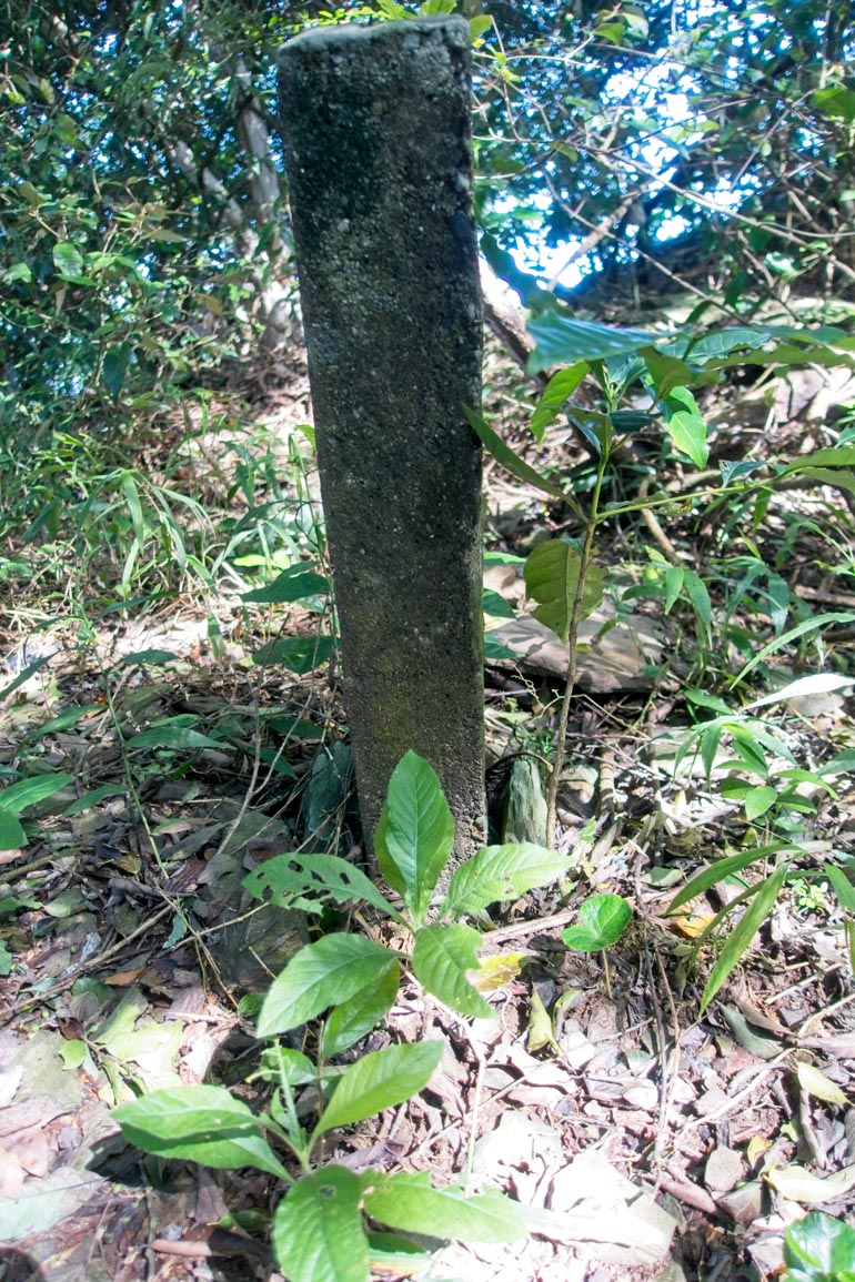 Old style marker on trail - pillar sticking out of ground