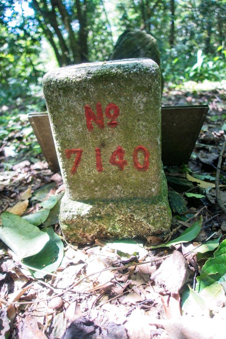 真我山 Zhenwoshan triangulation marker - No 7140 written on it