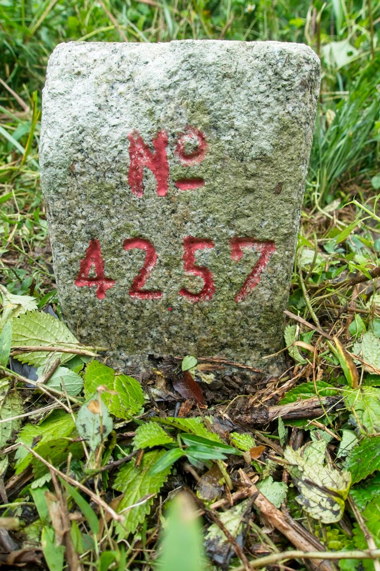 Closeup of the CaoBuHouShan 草埔後山 Triangulation Marker - No 4257 written on it