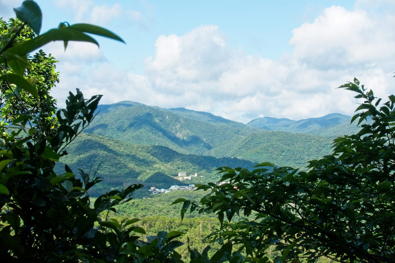 Mountains and village below - some tree branches at bottom of view - blue skies and white clouds