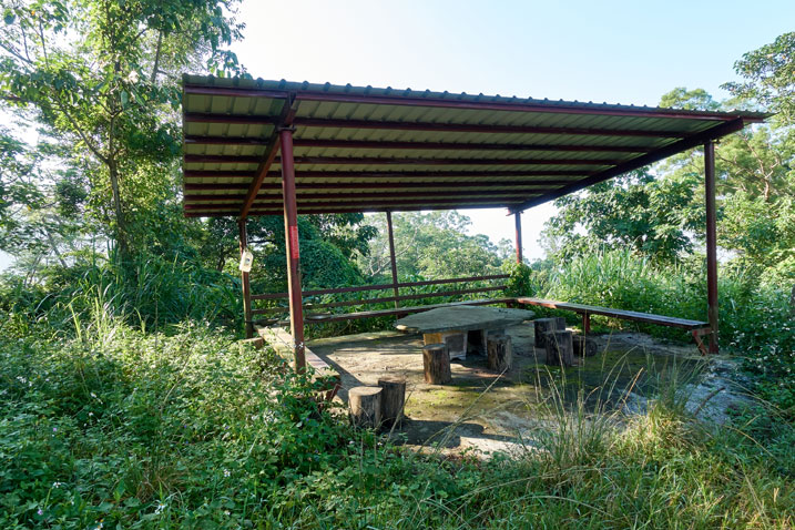 Old structure in halfway decent shape - table and chairs under metal roof - tall grass around structure