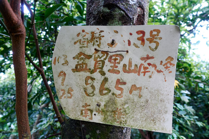 Sign attached to tree with info about the peak - name, elevation and other info