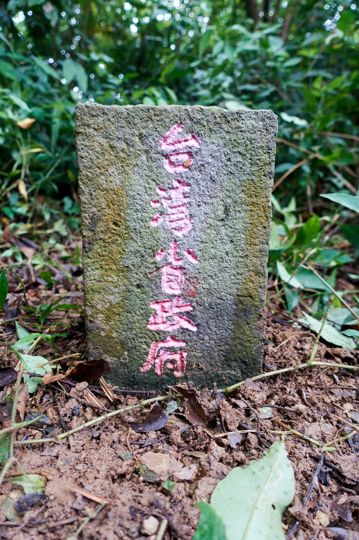 PenMaoLiShan NanFeng - 盆貿里山南峰 peak marker - Chinese words on it