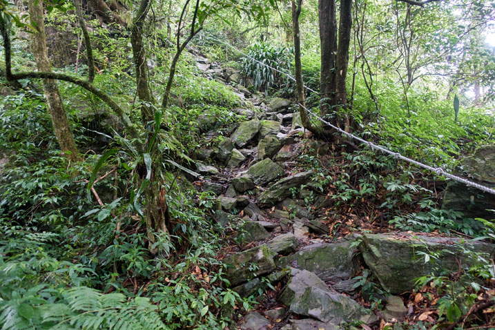 Rocky trail going up, with rope on right side