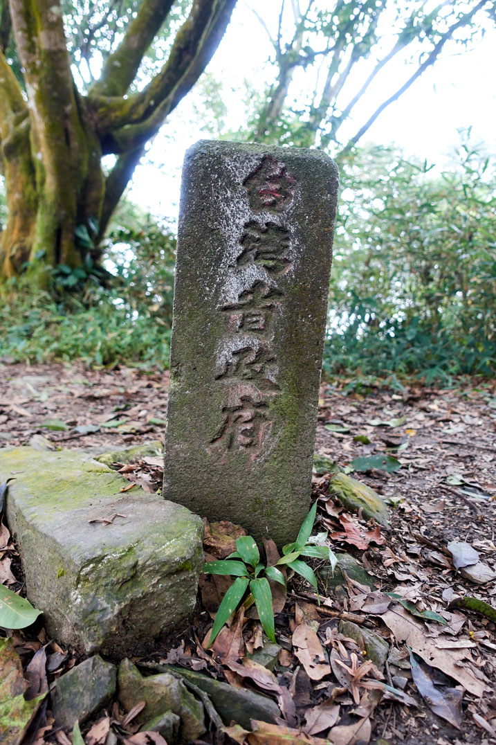 Stone marker stickout out of ground with Chinese writing