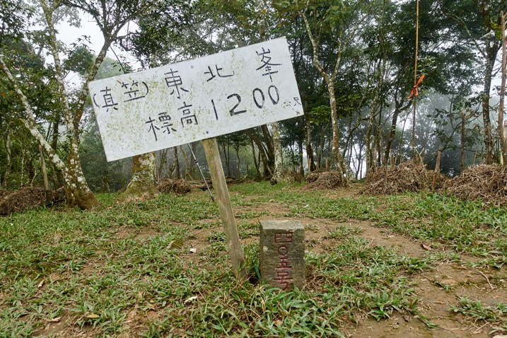 真笠山東北峰 triangulation stone and sign