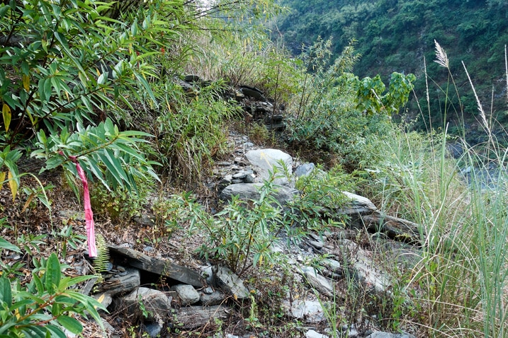 Rocky and overgrown trail head - ZuMuShan 足母山
