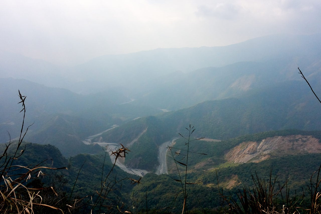 Panoramic mountain and river view of Maolin area from ZuMuShan 足母山