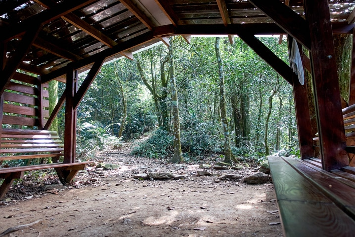 Inside a covered area on a trail - WeiLiaoShan Hike – 尾寮山