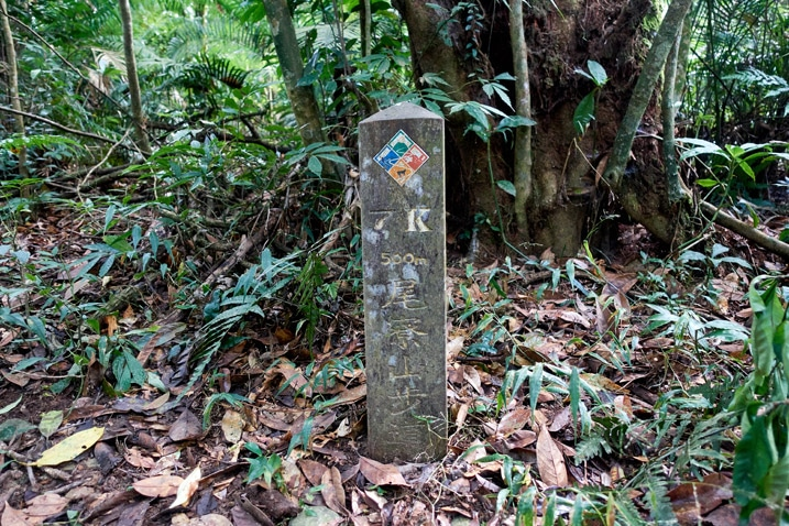 Stone trail marker with info on it - WeiLiaoShan 尾寮山 trail