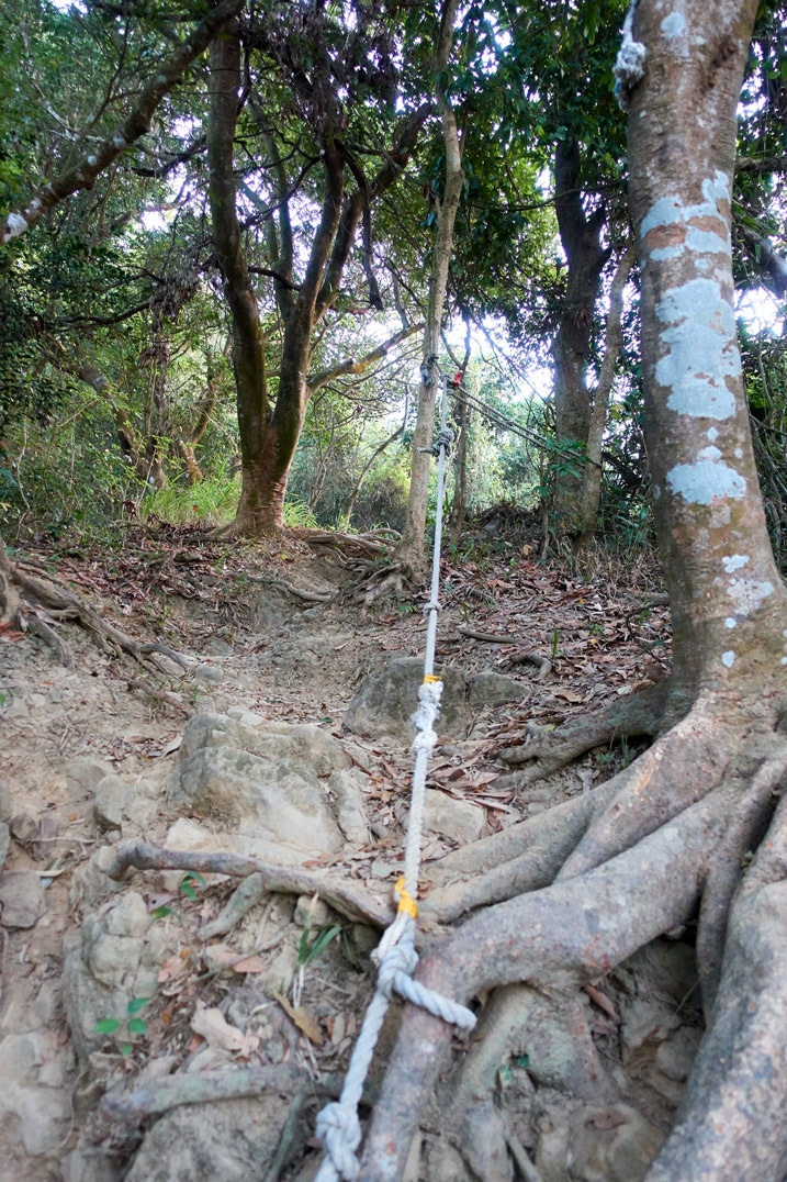Rope going up trail 旗月縱走