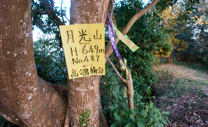 Yellow sign in Chinese and ribbons hanging from tree - 旗月縱走 - 月光山