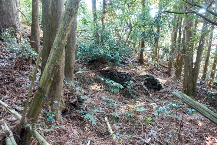Remnants of a traditional Taiwan aboriginal house - in forest - 蕃里山 - FanLiShan