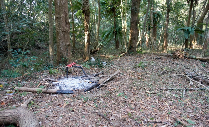 Old campfire with trees behind - 巴里山社家屋