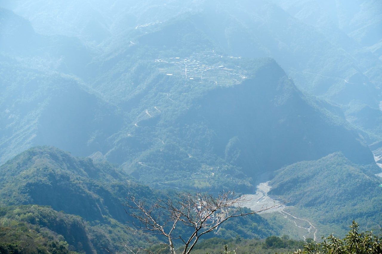 Closeup of Wutai village in the mountains