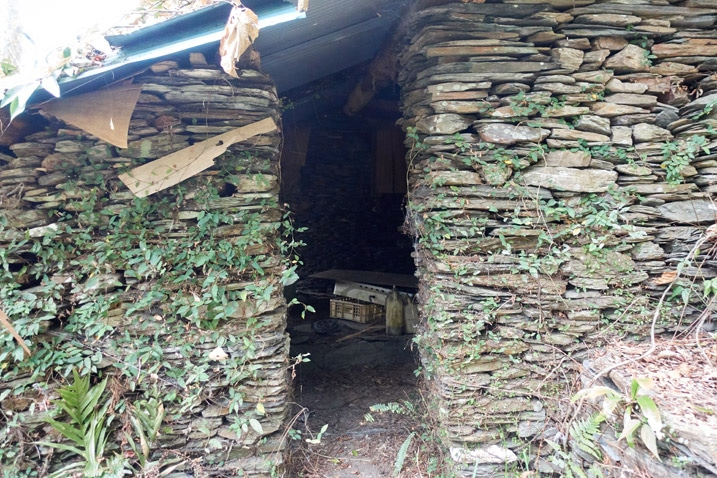 Closeup of traditional style aboriginal house built with stones
