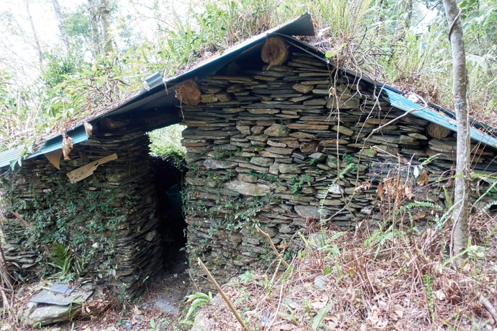 Traditional style aboriginal house built with stones