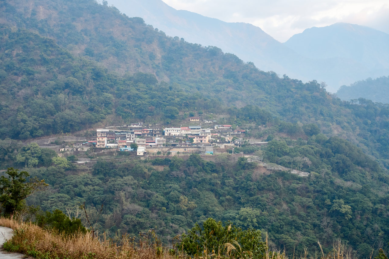 Closeup of mountain village from afar