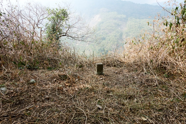 Triangulation stone in newly cleared area next to cliff