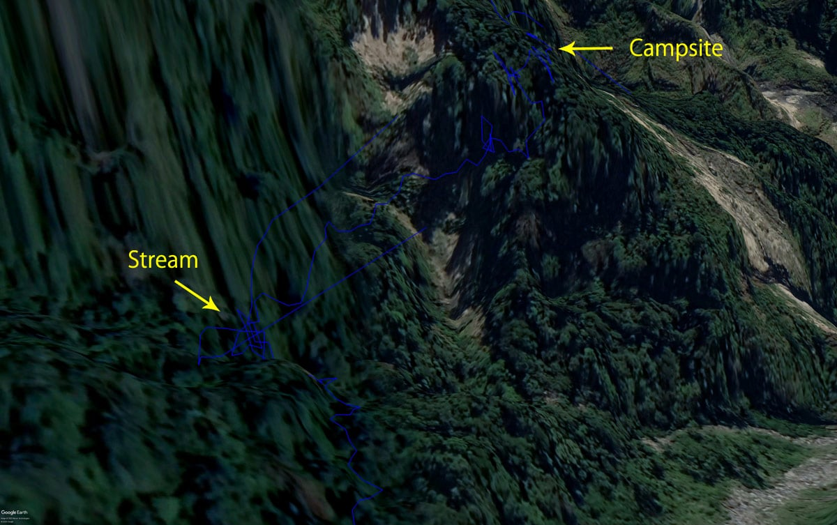 Google earth map of 大母母山 Trail