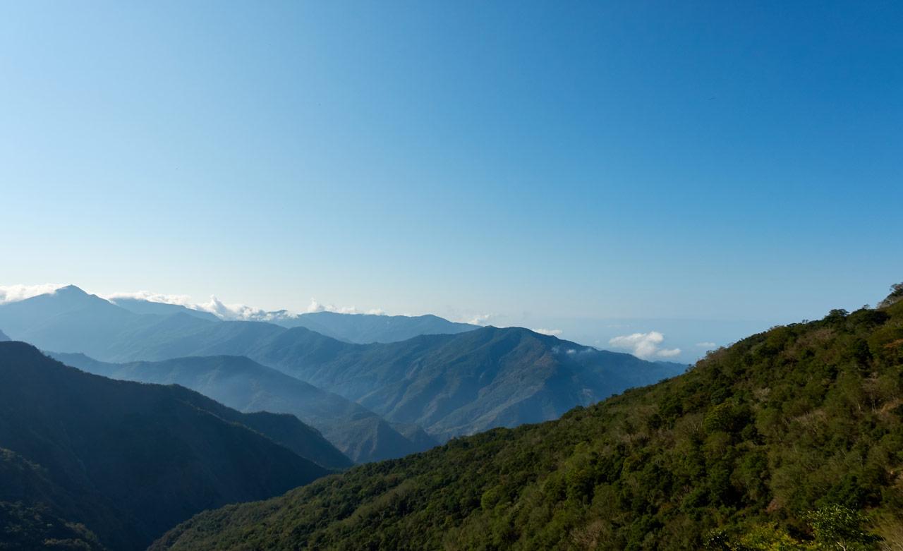 Morning mountain panoramic view - blue sky