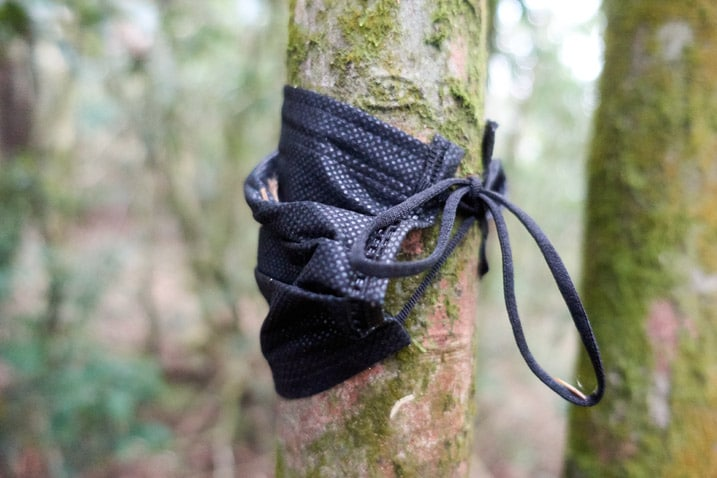 Black mask tied to small tree